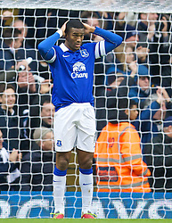 LONDON, ENGLAND - Sunday, February 9, 2014: Everton's Sylvain Distin looks dejected as Tottenham Hotspur score the opening goal during the Premiership match at White Hart Lane. (Pic by David Rawcliffe/Propaganda)