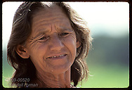 Portrait of aged rubber tapper matriarch who lives on isolated seringal on Jurua Rver, Amazonas Brazil