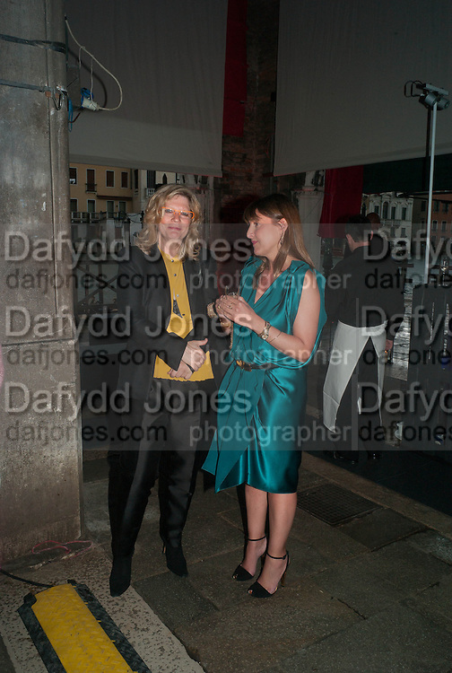 CAREY LOVELACE; TANYA BONAKDAR, The Bronx Museum of the Arts, Tanya Bonakdar Gallery and the Victoria Miro Gallery host a reception and dinner in honor of Sarah Sze: Triple Point. Representing the United States of America at the 55th Biennale di Venezia with the Co  Commissioners of the  U. S. Pavilion Holly Block, Executive Director of the Bronx Museum of the arts  and Carey Lovelace. <br /> <br /> Rialto Fish market. Venice. . 29 May 2013