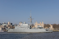 © Licensed to London News Pictures. 13/02/2017. LONDON, UK.  The German Navy spy ship, FGS Oker A53 leaves London, passing the City of London skyscrapers and the Tower of London before passing under Tower Bridge on the River Thames following a short London visit. FGS Oker A53 is one of the Oste class ships, that are purpose built intelligence collection spy ships and were primarily designed to gather data on Soviet warships.  Photo credit: Vickie Flores/LNP.