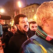 Torino 11/01/2014 Matteo Salvini segretario Lega Nord, fiaccolata promossa dalla Lega Nord per protestare contro la sentenza del Tar di ieri che ha annullato le elezioni regionali del 2010 che decretarono la vittoria di Roberto Cota e della maggioranza di centrodestra.