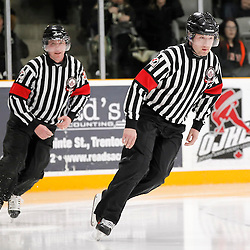 TRENTON, - Feb 4, 2016 -  Ontario Junior Hockey League game action between Newmarket and Trenton at the Duncan Memorial Gardens, ON. OHA Referees<br /> (Photo by Amy Deroche / OJHL Images)