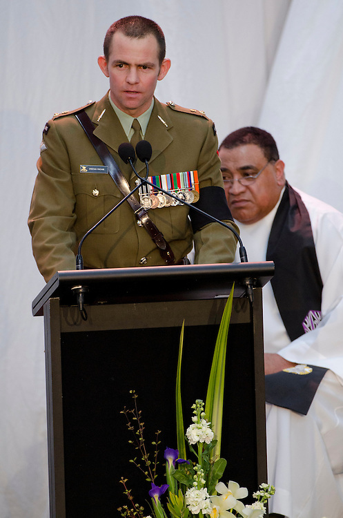 Lieutenant  Colonel Stefan Michie, Commanding Officer 2nd 1st Royal New Zealand Infantry Regiment  speaks at the Military Commemorative Service for LCPL Durrer and LCPL Malone at Burnham Military Camp, New Zealand, Saturday, August 11, 2012. Credit :  SNPA / David Alexander
