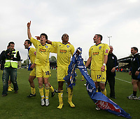 Photo: Lee Earle.<br /> Yeovil Town v Colchester United. Coca Cola League 1. 06/05/2006. Colchester players celebrate promotion.