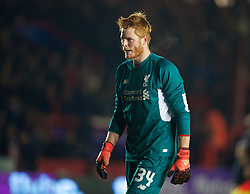 EXETER, ENGLAND - Friday, January 8, 2016: Liverpool's goalkeeper Adam Bogdan looks dejected as his error led to Exeter City's second goal during the FA Cup 3rd Round match at St. James Park. (Pic by David Rawcliffe/Propaganda)