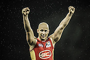GOLD COAST, AUSTRALIA - JUNE 08:  (EDITORS NOTE: Image has been converted to black and white.) Gary Ablett of the Suns celebrates victory during the round 11 AFL match between the Gold Coast Suns and the North Melbourne Kangaroos at Metricon Stadium on June 8, 2013 on the Gold Coast, Australia.  (Photo by Matt Roberts/Getty Images)