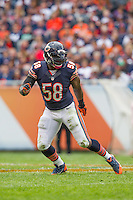 06 October 2013: Linebacker (58) D.J. Williams of the Chicago Bears in game action against the New Orleans Saints during the second half of the Saints 26-18 victory over the Bears in an NFL Game at Soldier Field in Chicago, IL.