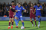 AFC Wimbledon striker Joe Pigott (39) dribbling during the EFL Sky Bet League 1 match between AFC Wimbledon and Bradford City at the Cherry Red Records Stadium, Kingston, England on 2 October 2018.