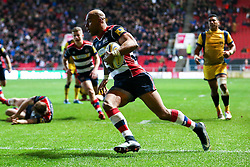 Tom Varndell of Bristol Rugby scores his 3rd try of the game - Rogan Thomson/JMP - 26/12/2016 - RUGBY UNION - Ashton Gate Stadium - Bristol, England - Bristol Rugby v Worcester Warriors - Aviva Premiership Boxing Day Clash.