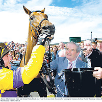 3 August 2006; Owner John Brennan, right, and Jockey Paddy Flood, give Cuan Na Grai a drink of water after winning the Guinness Galway Hurdle Handicap. Galway Races, Ballybrit, Co. Galway. Picture credit; Matt Browne / SPORTSFILE