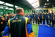 Australia's Jeremy Homfrey and the rest of the Australian team link arms in celebration at the end of the tournament.<br /> 2003 Indoor Cricket World Masters and Under 19 Championships, Christchurch, New Zealand