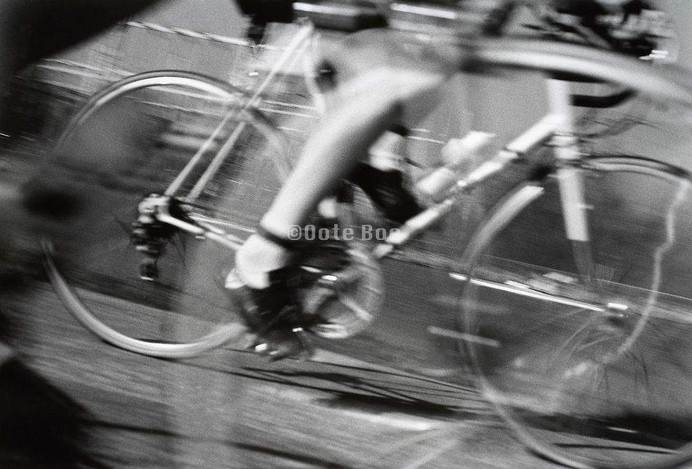 racing cyclist in motion