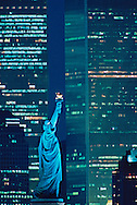 Statue of Liberty andTwin Towers, World Financial Center, Manhattan, New York City, New York, USA