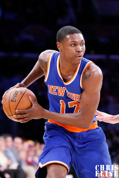 12 March 2015: New York Knicks forward Cleanthony Early (17) looks to pass the ball during the New York Knicks 101-94 victory over the Los Angeles Lakers, at the Staples Center, Los Angeles, California, USA.