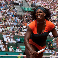 3 June 2009: Serena Williams of USA looks dejected during the Women's single quarter final match on day eleven of the French Open at Roland Garros in Paris, France.