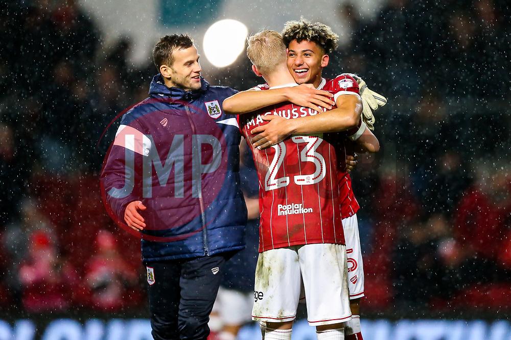 Goalscorer Lloyd Kelly celebrates with Hordur Magnusson fter Bristol City win 2-0 - Rogan/JMP - 26/12/2017 - Ashton Gate Stadium - Bristol, England - Bristol City v Reading - Sky Bet Championship.