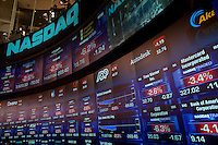 Nasdaq studio in Times Square show falling stock prices. ..Photo by Robert Caplin.