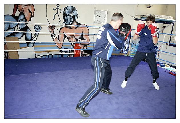 International GB Boxer Luke campbell training for muscle & Fitness..St Paul's ABC Gym, Hull, UK. 15-7-2011.