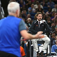 Tennis champion John McEnroe argues with the umpire during the PowerShares Tennis Series event at the Amway Center on January 5, 2017 in Orlando, Florida. (Alex Menendez via AP)