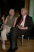 Lord and Lady Moser. Celebration of Lord Weidenfeld's 60 Years in Publishing hosted by Orion. the Weldon Galleries. National Portrait Gallery. London. 29 June 2005. ONE TIME USE ONLY - DO NOT ARCHIVE  © Copyright Photograph by Dafydd Jones 66 Stockwell Park Rd. London SW9 0DA Tel 020 7733 0108 www.dafjones.com