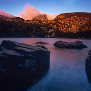 Colorado, Southwest<br /> Sunrise at Dream Lake, Rocky Mountain National Park, Colorado.