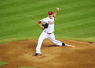 Jul. 15 2011; Phoenix, AZ, USA; Arizona Diamondbacks starting pitcher Joe Saunders (34) delivers a pitch during the first inning against the Los Angeles Dodgers at Chase Field. Mandatory Credit: Jennifer Stewart-US PRESSWIRE.