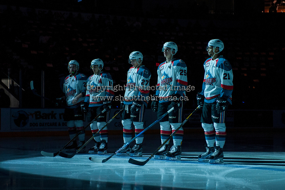KELOWNA, CANADA - APRIL 25: Reid Gardiner #23, Nick Merkley #10, Calvin Thurkauf #27, Cal Foote #25 and Devante Stephens #21 of the Kelowna Rockets line up against the Seattle Thunderbirds on April 25, 2017 at Prospera Place in Kelowna, British Columbia, Canada.  (Photo by Marissa Baecker/Shoot the Breeze)  *** Local Caption ***