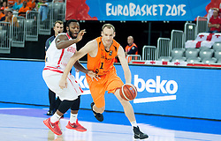 Jacob Pullen of Georgia vs Kees Akerboom of Netherlands during basketball match between Georgia and Netherlands at Day 1 in Group C of FIBA Europe Eurobasket 2015, on September 5, 2015, in Arena Zagreb, Croatia. Photo by Vid Ponikvar / Sportida