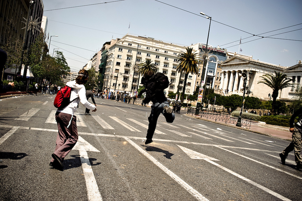 May 1st 2010, protesters clash with riot police during May Day demonstrations in Athens, Greece.