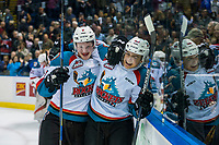 KELOWNA, CANADA - MARCH 11: Lucas Johansen #7 and Leif Mattson #28 of the Kelowna Rockets celebrate the OT win against the Victoria Royals on March 11, 2017 at Prospera Place in Kelowna, British Columbia, Canada.  (Photo by Marissa Baecker/Shoot the Breeze)  *** Local Caption ***