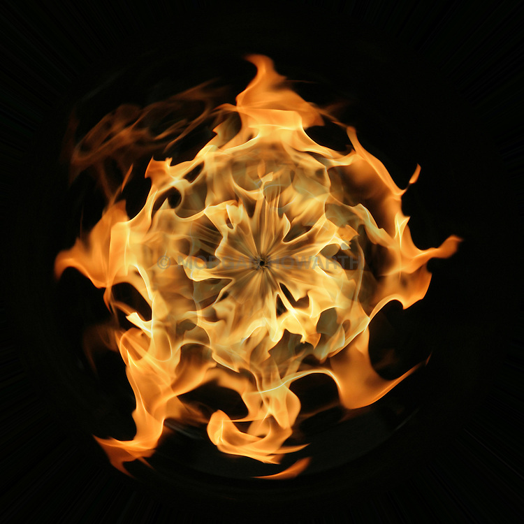 Ball of fire on black background