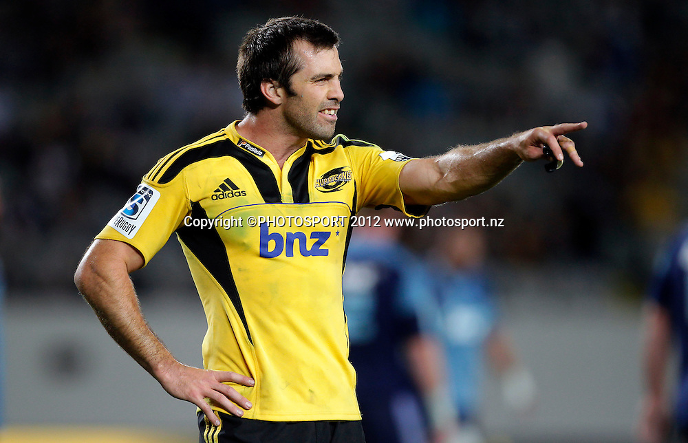Hurricanes captain Conrad Smith during the Super Rugby game between The Blues and The Hurricanes at Eden Park, Auckland New Zealand, Friday 23 March 2012. Photo: Simon Watts / photosport.co.nz