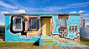 A small house covered with murals in Miami's Wynwood arts district