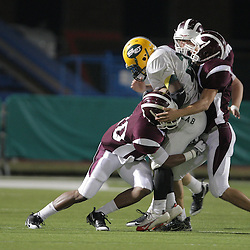 31 October, 2008:  St. Thomas Aquinas DB/RB Brandon Robertson (#20), St. Thomas Aquinas DE/TE Cullen Hughes  (#4) The St. Thomas Falcons recorded their first shut out of the season with a 41-0 shutout of the Southern Lab Kittens at Strawberry Stadium in Hammond, LA.