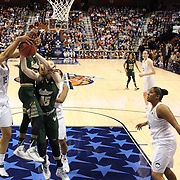 Gabby Williams, (left), UConn, challenges for a rebound with Courtney WIlliams and Katelyn Weber, USF, during the UConn Huskies Vs USF Bulls Basketball Final game at the American Athletic Conference Women's College Basketball Championships 2015 at Mohegan Sun Arena, Uncasville, Connecticut, USA. 9th March 2015. Photo Tim Clayton