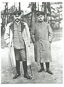 Paul von Beneckendorff und von Hindenburg (1847-1934), left, German soldier and president, with Eric von Ludendorff (1865-1937).