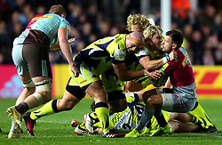 Faf de Klerk of Sale Sharks and Alex Tarus of Sale Sharks tackle Danny Care of Harlequins - Mandatory by-line: Robbie Stephenson/JMP - 06/10/2017 - RUGBY - Twickenham Stoop - London, England - Harlequins v Sale Sharks - Aviva Premiership