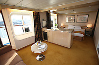 Voyages of Discovery's newly refurbished ship mv Voyager arrives in Portsmouth, UK, ahead of it's naming ceremony on Tuesday..Balcony Suite