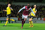 Aston Villa midfielder Albert Adomah (37) celebrates his goal to make the score 2-0 during the EFL Sky Bet Championship match between Burton Albion and Aston Villa at the Pirelli Stadium, Burton upon Trent, England on 26 September 2017. Photo by Richard Holmes.