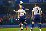 Tottenham Hotspur midfielder Eric Dier (15) and Chelsea Olivier Giroud (18) clash in the air during the EFL Cup semi final second leg match between Chelsea and Tottenham Hotspur at Stamford Bridge, London, England on 24 January 2019.
