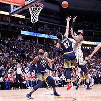 07 March 2018: Cleveland Cavaliers forward LeBron James (23) goes for the tear drop shot over Denver Nuggets guard Jamal Murray (27) during the Cleveland Cavaliers 113-108 victory over the Denver Nuggets, at the Pepsi Center, Denver, Colorado, USA.