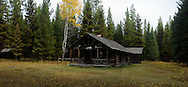Kishehehn Patrol Cabin site in the remote North Fork Flathead backcountry of Glacier National Park in northwest Montana.