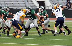 18 October 2014:  Donovan Laible is forced to run during an NCAA division 3 football game between the Augustana Vikings and the Illinois Wesleyan Titans in Tucci Stadium on Wilder Field, Bloomington IL