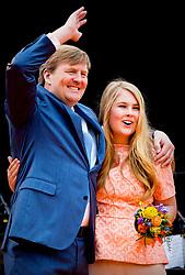 King Willem Alexander with Princess Amalia attending King's Day Celebrations in Groningen, Netherlands, on April 27, 2018. Photo by Robin Utrecht/ABACAPRESS.COM