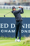 Tony Finau plays his tee shot at the 2nd hole during the final round of the Alfred Dunhill Links Championship European Tour at St Andrews, West Sands, Scotland on 29 September 2019.