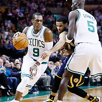 04 January 2013: Boston Celtics point guard Rajon Rondo (9) drives past Indiana Pacers point guard D.J. Augustin (14) on a screen set by Boston Celtics power forward Kevin Garnett (5) during the Boston Celtics 94-75 victory over the Indiana Pacers at the TD Garden, Boston, Massachusetts, USA.