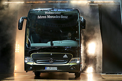 08.06.2015, Mercedes Benz Zenter, Koeln, GER, Nationalmannschaft, Pressekonferenz, im Bild Vorstellung des neuen Mannschafts-Busses // during a press conference of the german national football team at the Mercedes Benz Zenter in Koeln, Germany on 2015/06/08. EXPA Pictures © 2015, PhotoCredit: EXPA/ Eibner-Pressefoto/ Schüler<br /> <br /> *****ATTENTION - OUT of GER*****