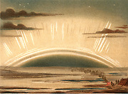 Aurora Borealis or Northern Lights observed  from the Isle of Sky, Scotland, 11 September 1874.   Caused by high-speed particles ejected from the Sun, they are most commonly observed during periods of maximum sunspots. From 'Die Naturkrafte' by M  Wilhelm Meyer (Leipzig, 1903). Chromolithograph.