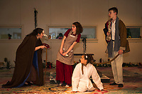 "Streetcar Kids and Youth Theater (SKYT) perform on stage at the Gilford Methodist Church during dress rehearsal of their upcoming musical ""into The Woods"".  (l-r) Witch (Hailey Kaliscik), Baker's Wife (Chelsea Sasserson), Milky White (Sophia Cluett) and Baker (Chris Renaud).  (Karen Bobotas/for the Laconia Daily Sun)"