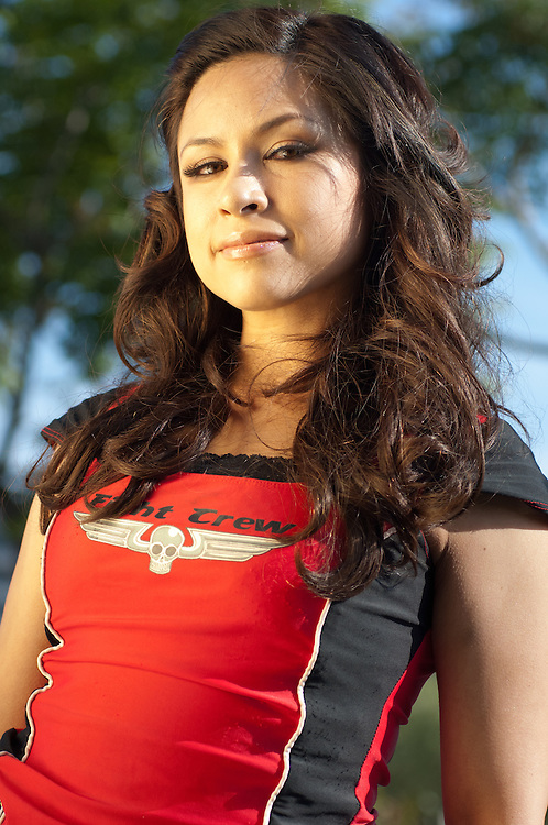 22 April 2011: Roller Derby competitor Bombshell Betty poses during a portrait session at the Crowne Plaza Irvine Hotel, in Irvine, CA.
